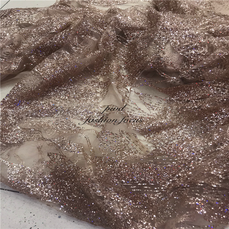 Glitter Embroidery Sequin Fabric Africian Gold Nude Weding Dress Lace Fabric Mesh  For Bridal Couture Lace Wedding Dress