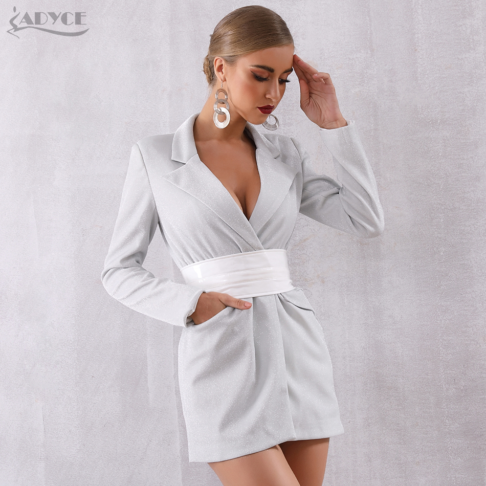 Adyce 2019 New Summer Women Slim   Trench   Coats Silver Deep V Covered Button Sash Coat Long Sleeve Solid Female Fashion Club Coats