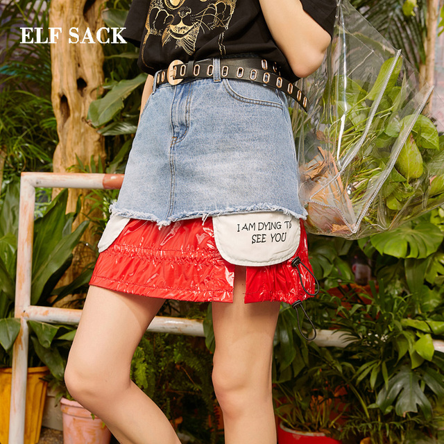 ELF SACK 2019 Spring New Fashion Woman Skirts Casual Print Patchwork Women Mini Skirts Streetwear Cotton Denim Ladies Bottoms