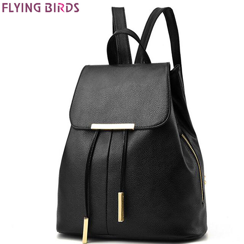 FLYING BIRDS fashion student's backpack women leather backpack luxury brand girls school bags women travel bags ladies A403fb just star brand design elf hardware casual pu women leather ladies girls backpack school travel shoulders bags