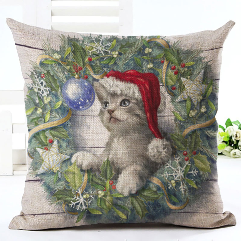2019 New Year Cartoon Pattern Cat and Dog 45x45cm Pillowcase Merry Christmas Decorations for Home Santa Clause Linen Cover Natal (2)
