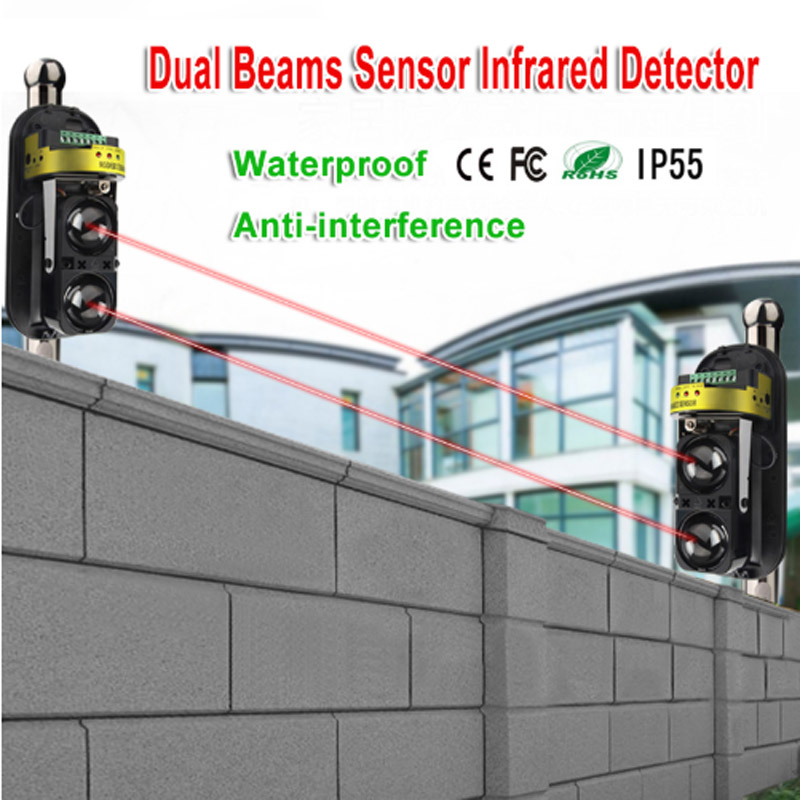 Waterproof Dual Beam Sensor Active Infrared Intrusion Detector IR 20m~150m Outdoor Perimeter Wall Barrier Fence for GSM alarm|Sensor & Detector| |  - title=