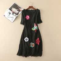 Summer Dress 2017 Women High Quality Short Sleeve Multicolor Sequins Handmade Beads Black Lace Dress