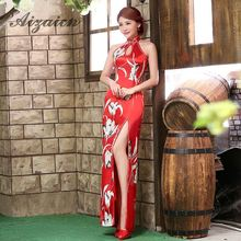 Chinese Traditional Dress Qipao Sexy Backless Cheongsam Black Vestido Oriental Style Evening Dresses Long Qi Pao Cheongsams