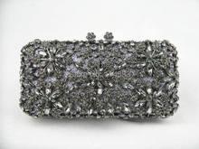 8138 серый кристалл цветочные цветочные свадебные ну вечеринку металл вечер кошелек клатч сумка сумочка чехол