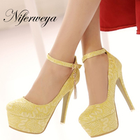 New spring/autumn Ankle Strap red women wedding shoes Big size 33 48 sexy Round Toe Platform Thin Heel high heels zapatos mujer
