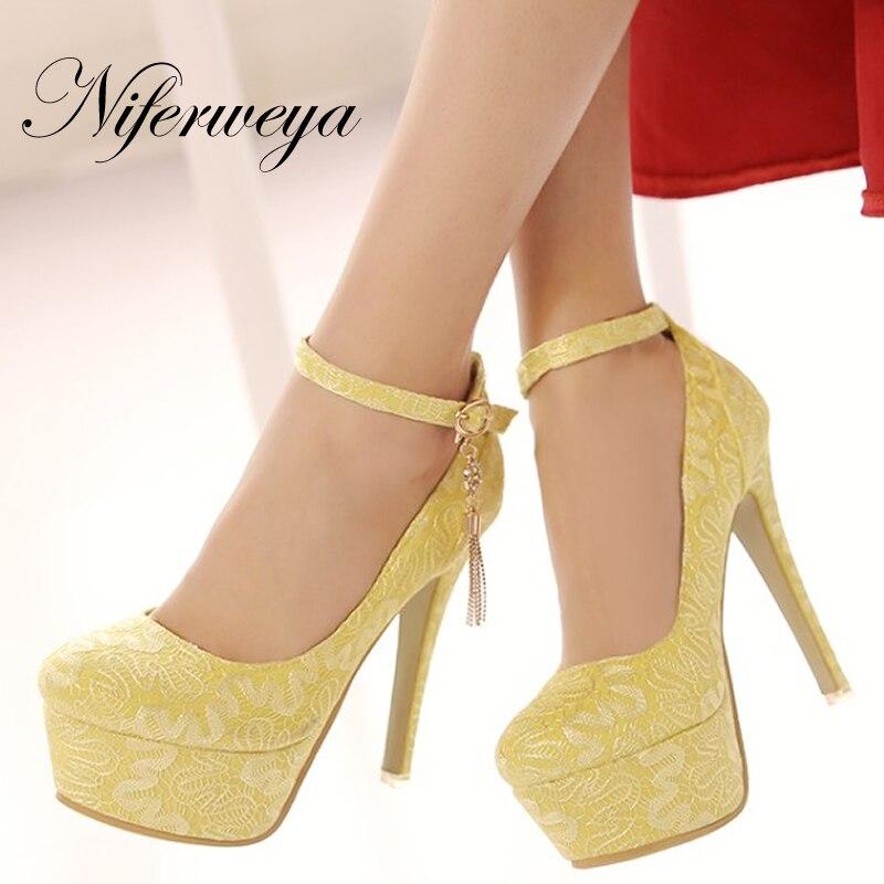 Nouveau printemps/automne bride à la cheville rouge femmes chaussures de mariage grande taille 33-48 sexy bout rond plate-forme talon mince talons hauts zapatos mujer