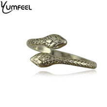 New Vintage Antique Silver Plated Snake Ring for Woman Boho Fashion Jewelry