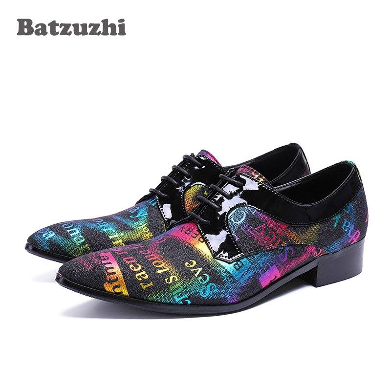 Batzuzhi Handmade Men Shoes Designer's Leather Dress Shoes Men Pointed Toe Lace-up Color Oxford Shoes for Men Wedding and Party