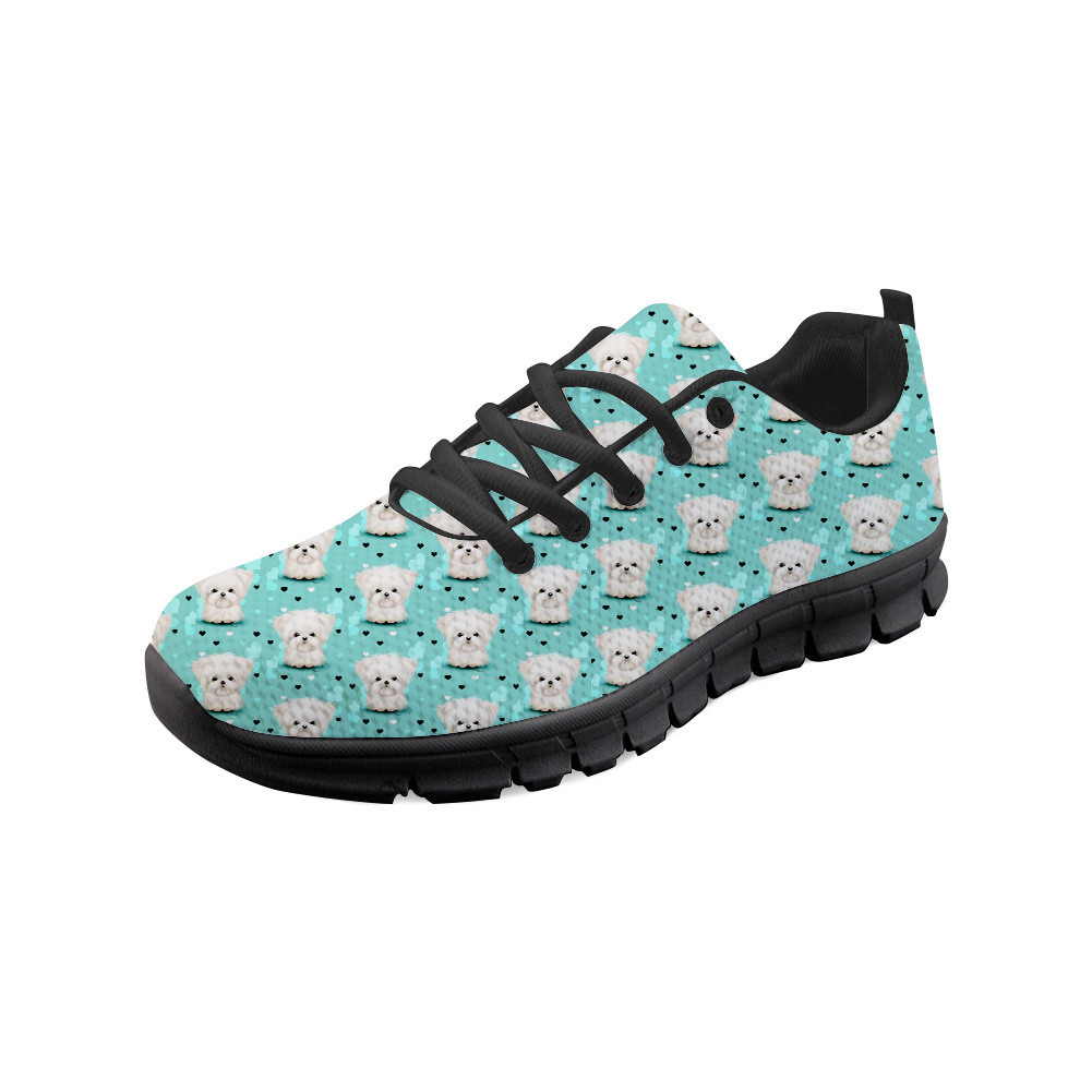 Thikin Women Maltese Florals Sneakers Animals Casual Flat Shoes Ladies Breathable Mesh Woman Walking Shoes Zapatos Mujer in Women 39 s Flats from Shoes