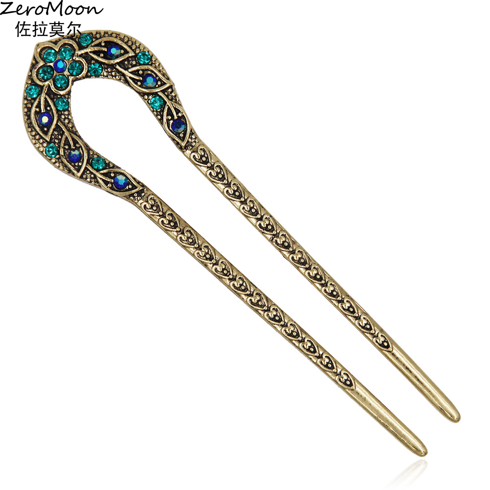 Antique Love Heart Hair Sticks Reliefs Floral Designs lämnar Crystal Rhinestone Kinesiska Style Hairpin Fashion Smycken för kvinnor