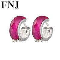 FNJ 925 Silver Red Corundum Hoop Earring for Women Wedding Party S925 Sterling Silver Earrings Jewelry LE53