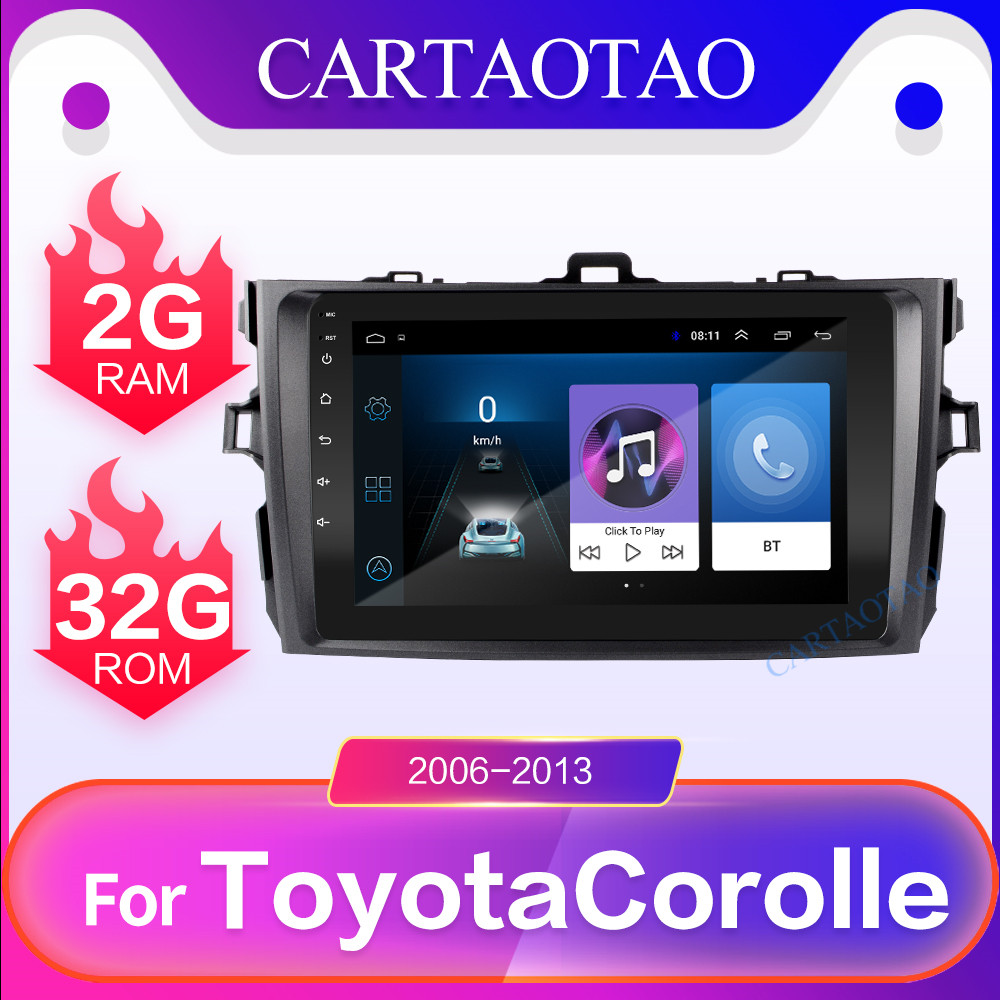 2 din Android 8.1OS for Toyota Corolla E140/150 2006 2013 car navigation video multimedia player car radio 2.5HD GPS WIFI player