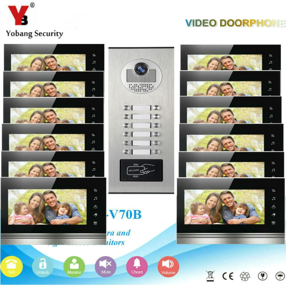 YobangSecurity Video Door Phone Intercom System 7 Inch HD Video Door Doorbell Camera RFID Access Control 1 Camera 12 Monitor. цена