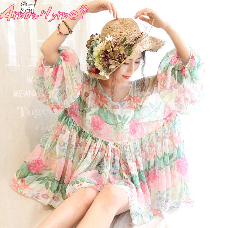 2018 Summer Women Blouse Japanese Mori Girl Floral Printed Chiffon Shirt Lolita Kawaii Sweet Princess Shirt
