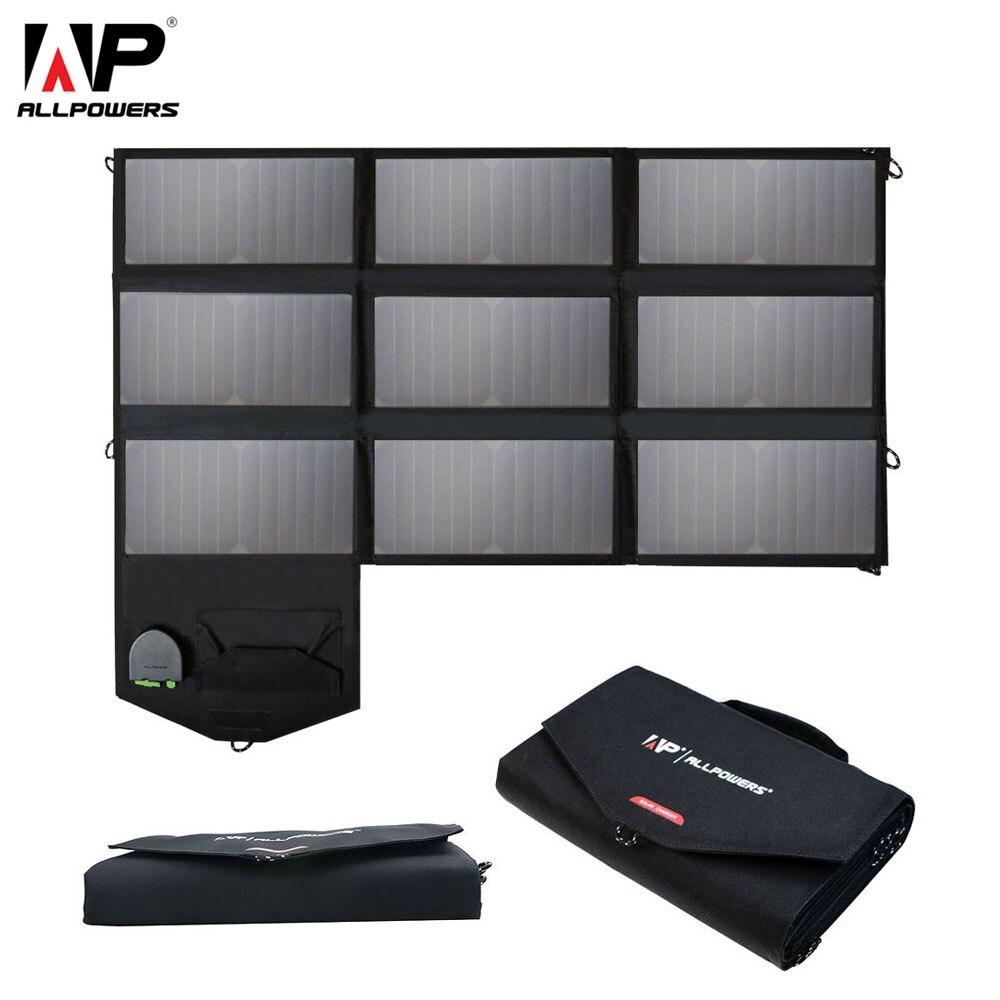 ALLPOWERS 60 w 18 12 5 v v v Do Carregador Do Telefone Portátil Dobrável Painel Solar Charger Pack para iPhone 6 7 8 Laptops Tablets Smartphones