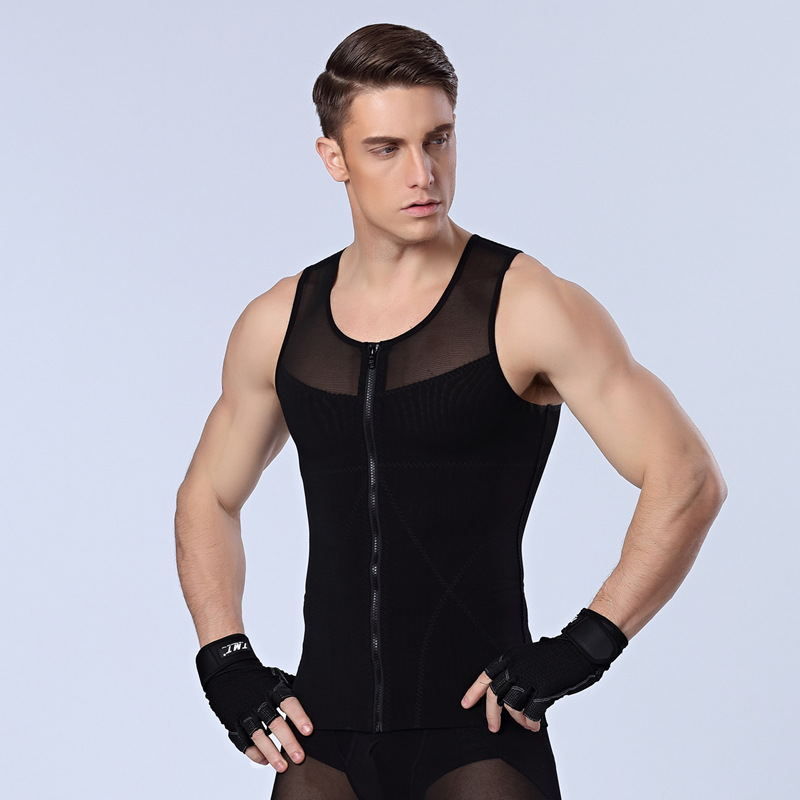 Men Boobs Gynecomastia Shapers Abdomen Belly Control Corset Slimming Chest Shirt Tummy Trimmer Shaper Zipper Compression Vest