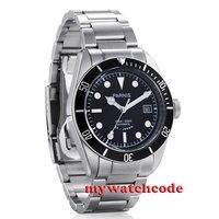 Parnis черный циферблат сапфировое стекло Miyota автоматические 10atm Дайвинг мужские часы P384