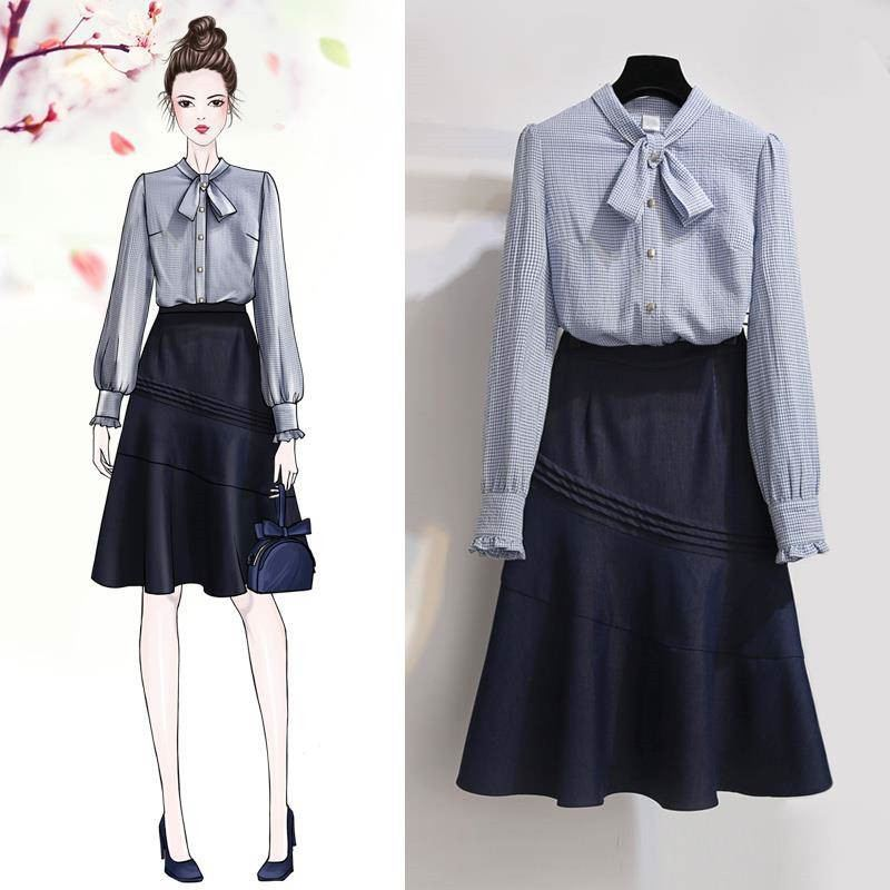 Spring Women Fashion Sets Female Elegant Long Sleeve Shirts + Skirts Suits Ladies Vintage Single Breasted Slim Two Piece Set F73