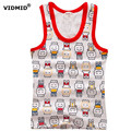 2-8Y Children vests Baby summer boy tanks solid color Girl Cotton tanks sleeveless kids stripe cartoon vests tanks beach