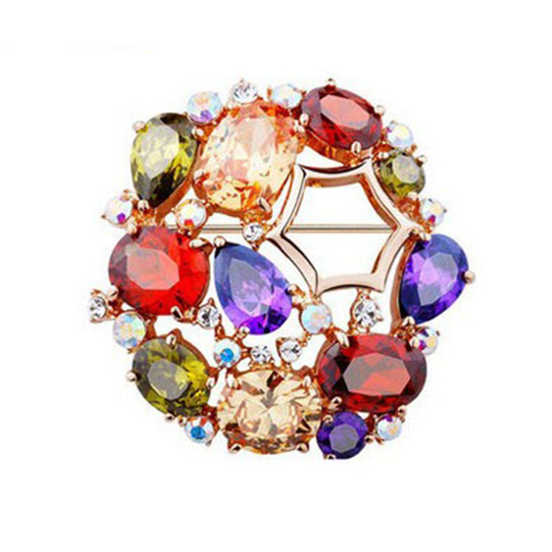 B350501 Hot sale luxurious crystal colors CZ brooches zinc alloy rose gold color with high quality zircon fashion women jewelry