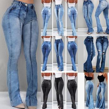 2019 kobiet wysokiej talii jeansy rozkloszowane obcisłe spodnie dżinsowe Sexy spodnie push up Stretch dół Jean kobiece dżinsy tanie i dobre opinie Laamei Pełnej długości Poliester Na co dzień Zmiękczania Spodnie pochodni skinny light Kobiety Wysoka NONE Zipper fly
