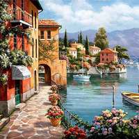 Unframed Venice Resorts Seascape DIY Painting By Numbers Handpainted Oil Painting Living Room House Wall Decor
