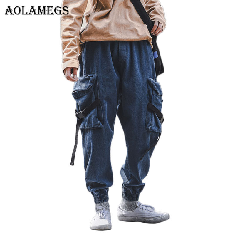 Aolamegs Pants Men Harlan Cargo Pocket Thick Track Pants Male Trousers Elastic Waist Casual Fashion Joggers Sweatpants Autumn-in Skinny Pants from Men's Clothing