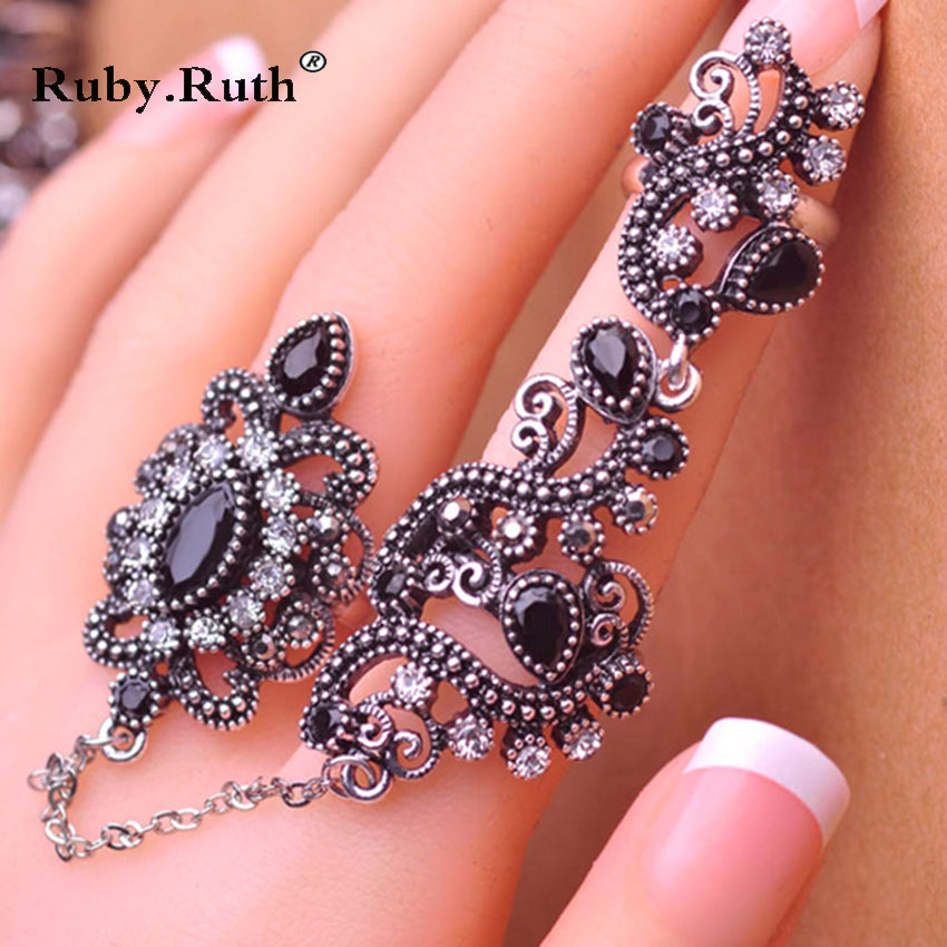 2017 New Fashion Adjustable Finger Rings For Party Women Red Resin Hollow Out Flower Vintage retro style steel ring Jewelry