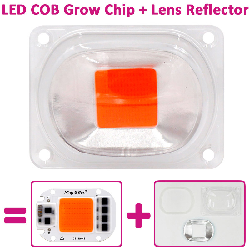 1set Full Spectrum COB LED Grow Light Lamp Chip+Lens Reflector 50W 30W 20W 220V Grow Led Chip For DIY LED Growth Flood Light