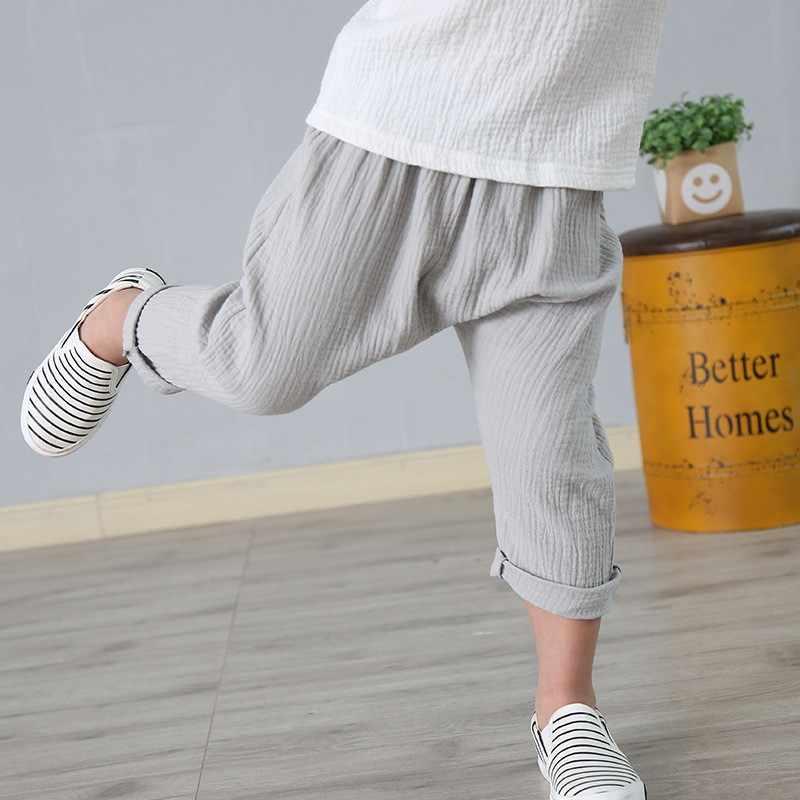 Çocuk yürüyor çocuk harem pantolon erkek bebek kız pantolon keten pileli çocuk erkek kız pantolon bebek çocuk yaz pantolon