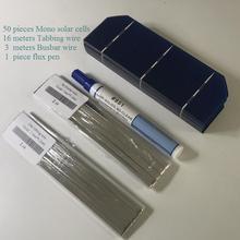 Pcs 50 ALLMEJORES Diy kits painel solar Monocristalino 1.6 w 0.5 v células solares 156mm * 52mm com suficiente tabbing fio fio de barramento