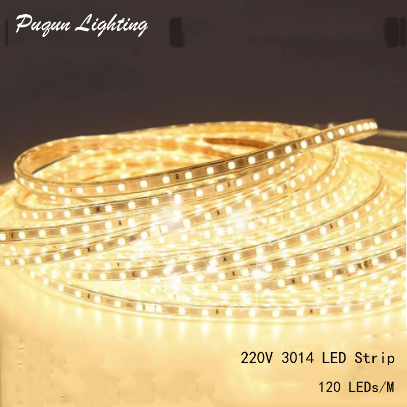 LED Strip Pencahayaan outdoor 220V AC 3014 SMD 120 LEDs / m LED Rope Cahaya Liburan Natal Deccoration 1M 2M 5M 10M 15M 20M 25M