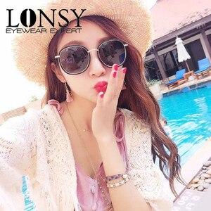 Image 1 - لونسي وصفة طبية 1.0 1.5 2.0 2.5 3.0 3.5 4.0 موضة قصر النظر النظارات الشمسية الرجال النساء نظارات شمسية مستديرة الرجعية UV400 ظلال