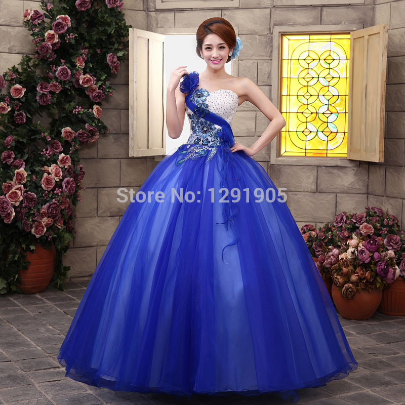 single shoulder royal blue medieval dress ball gown siss princess Medieval Renaissance Gown queen Costume Victorian Belle