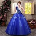 single shoulder royal blue medieval dress ball gown siss princess Medieval Renaissance Gown queen Costume Victorian Belle