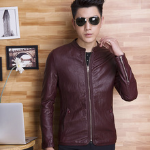 The new 2017 men's clothing washed leather Fashion collar pure color leather