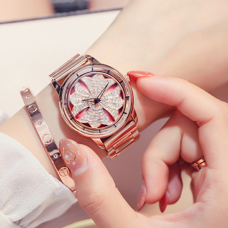 Rose Gold Watch Woman Quartz Watch Brand Girl Clock Steel Band Bracelet Watch Luxury Ladies Watch Rotating Dial Relogio Feminino new brand rose gold women watch steel luxury ladies watch creative girl quartz wristwatch clock montre relogio feminino 2018