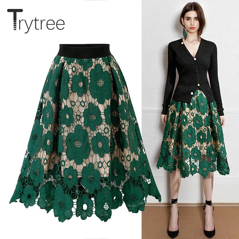 Trytree Summer Autumn Women Lace Floral Skirt Casual Polyester Elastic Waist Ruffled Hem Skirt Fashion A-line Knee-Length Skirts