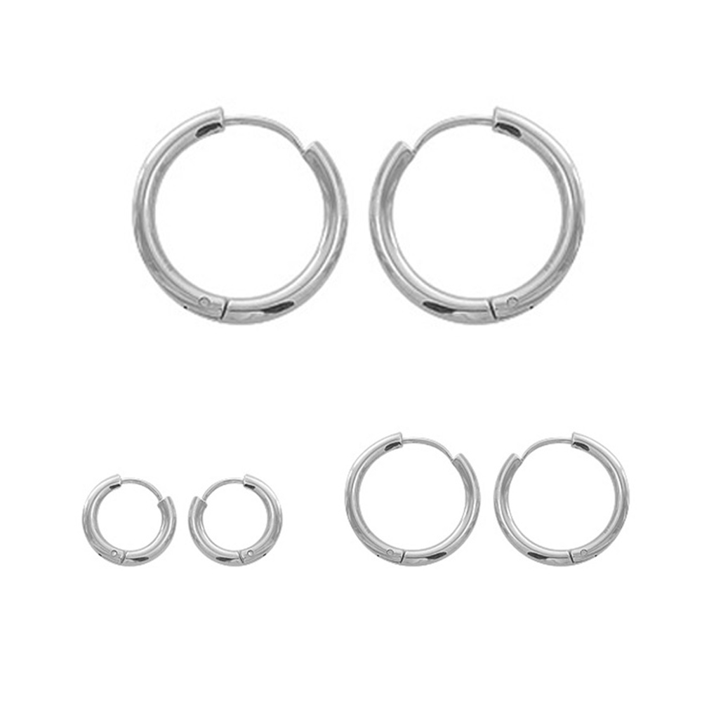 Cxwind Small Round Earrings 316L Stainless Steel Earrings for Women Men Ear Clip Simple Circle Earrings Statement Jewelry