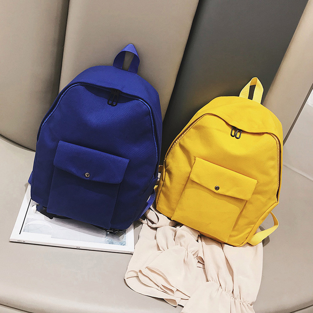Backpack Children School Bags For Teenagers Girls Solid Pocket Students Bags Mochila Feminina