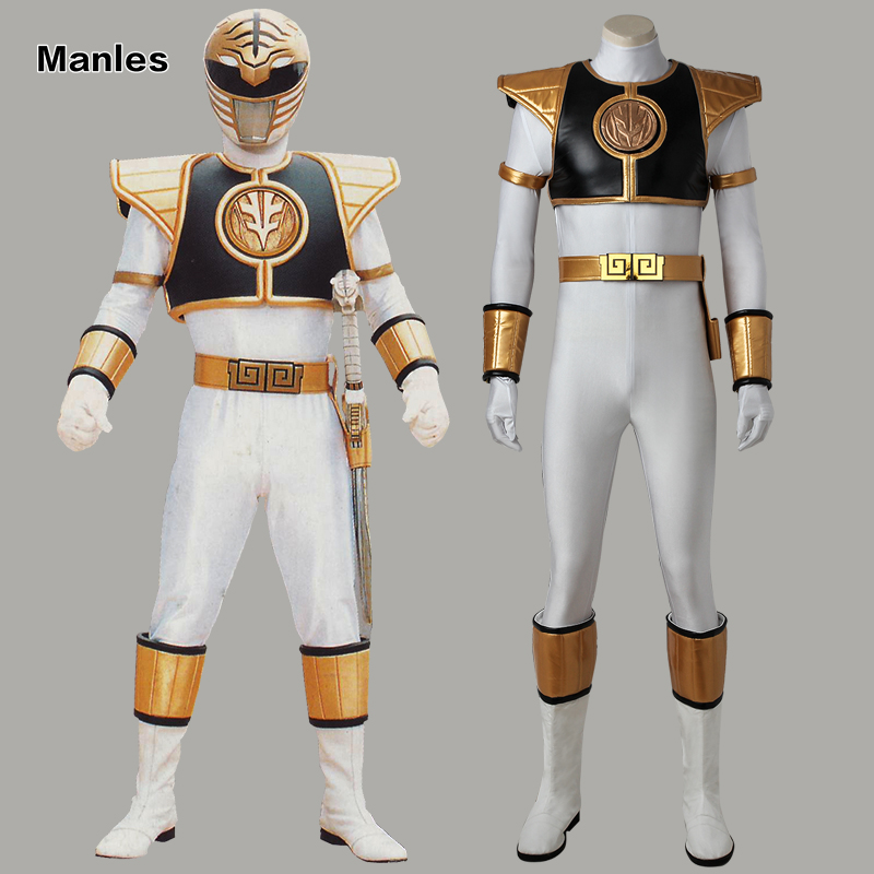 White Ranger Tommy Cosplay Costume Zyuranger Clothes Mighty Morphin Uniform Halloween Carnival Superhero Jumpsuit Boots Adult