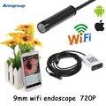 Iphone endoscópio hd 9mm wifi endoscópio câmera de inspeção de vídeo à prova d' água android endoscopio câmera para ios e android phone