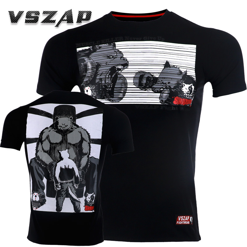 VSZAP Fighting Wolf MMA T Shirt Gym Tee Shirt Gym Jerseys Fighting Martial Arts Fitness Training Sports Muay Thai T Shirt