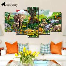 ArtSailing HD print 5 piece canvas art Paint Nature Animals Park modern Home canvas print wall art canvas Poster framed ash451(China)