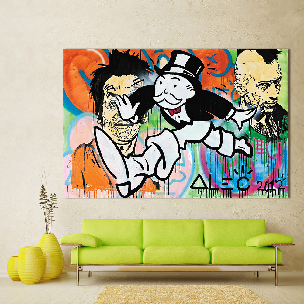 Graffiti art home decor - Qk Art Home Office Decor Graffiti Painting Wall Pictures For Living Room Escaping Alec Monopoly Modern