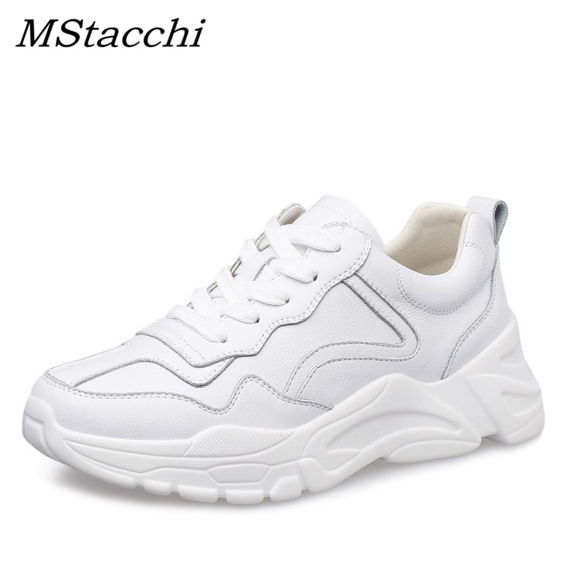 MStacchi Women White Sneakers Brand Designer Wedge Heel Lace Up Shoes Ladies Leisure Shoes Woman Thick Sole Platform Sneakers