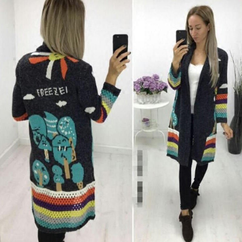 2017 Sale New Acetate Acrylic V-neck Full Poncho Women Sweaters And Pull Women s Cardigan Sweater Winter Printing Casual Woman ...