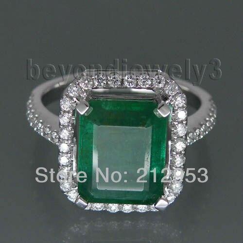 Vintage Emerald Cut 8x10mm Solid 18kt White Gold Emerald Ring Gemstone WU041
