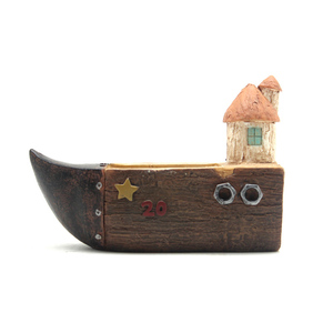 Image 5 - Roogo flower pot retro timber pile series moss pots garden supplies decorative vase and succulent flower case resin toy car gift